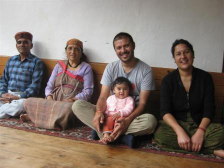 Our friends and tour partner Ravi Thakur with his wife Rekha and little Reva, Aba-le and Abi-le at home.