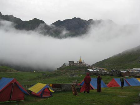 We shared our first campsite with about 30 young lamas (young monks) who were paying tribute to one of their monks who had died recently on the pass.
