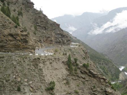 Slowly we edged along the winding highway into the rain-shadow of the himalayas.
