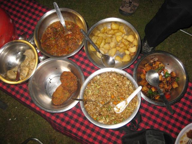 hat's vege fried rice, vege burgers, vege fried rice, chinese pepper & brinjal, roast potatoes and sweet and sour vege. The meat-eaters all confessed that if they could eat like this every night being vegetarian wouldn't be a problem!