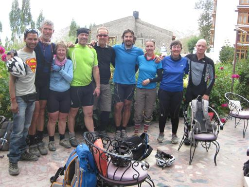 We've arrived 600km later in Leh: Raju, Richard, Colleen, Paul, Graham, Carlos, Bridget, Sandra and Cliff