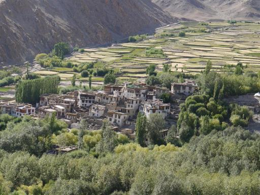 On the way out of Leh, passing picturesque Ganglas village.