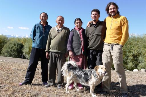 Family photo: Rumi with Dawa, Aba Angchuk, Ama Laskit, Nurboo and dogfather Carlos.