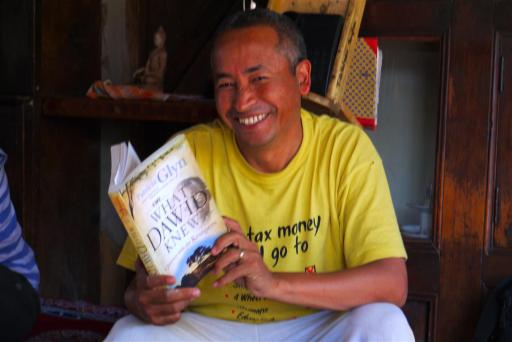 I was delighted that Angchuk, the founder was there when I visited as very often he is away giving lectures on sustainability. Here he is with Patricia Glynn's book 'What Dawid Knew'. I gave it to him as the Ladakhi culture has so many similarities to the bushman, the only difference is that they have fortunately not been completely lost forever.