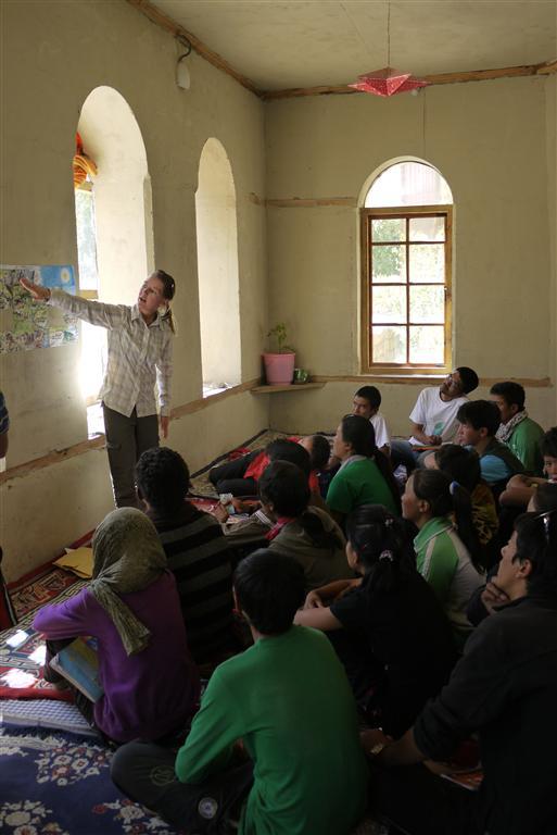 Playing teacher.