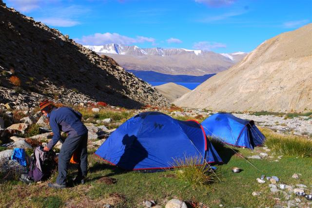 And so our 3 day trek began, fortunately a little elevated at 4600m.  Our campsite on the first day.