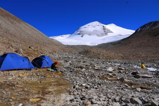 Our base camp. Despite the brilliant and dazzling sun, it was one hellavu chilly spot!