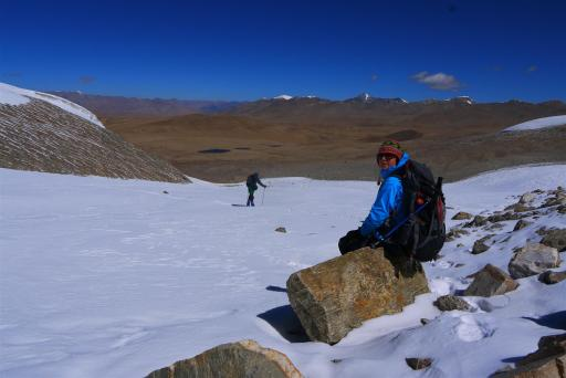 Taking a break at around 5900m.